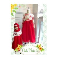 DRESS ANAK TANGAN PANJANG FULL PRINT FLOWER RED TUTU+JILBAB(RSBY-1811)