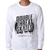 t shirt kaos double skates long sleeve lengan panjang putih