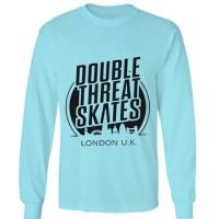 t shirt kaos double skates long sleeve lengan panjang biru