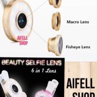 Multi Lensa 6in1 fish eye super wide lampu selfie