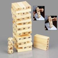 Wooden Uno Stacko Permainan Puzzle Susun Balok Menara Kayu