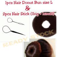 PAKET HEMAT 1pcs HAIR DONUT BUN DAN 2pcs HAIR STICK RAMBUT READY STOCK
