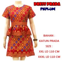 DRESS BATIK / DRESS BIG SIZE / DRESS PEPLUM BALI PRADA XXL XXXL XXXXL