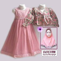 Dress Baju Musl Gamis Anak Kardigan Cutetrik 8-9-10-11-12-13 tahun