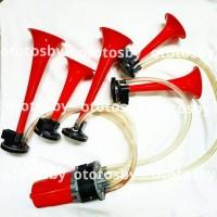 Jual horn / klakson 5 trompet merah + dinamo musik Murah