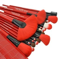 [ DOMPET MERAH ] MAKE UP BRUSH SET RED FOR YOU isi 24 makeup
