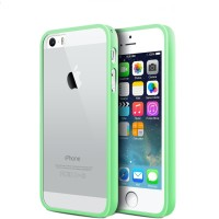 iBuy iPhone 5, 5s 5 Se Bumper Green Rubber Case With Clear Back Mika