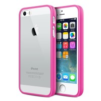 iBuy iPhone 5, 5s 5 Se Bumper Pink Rubber Case With Clear Back Mika
