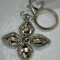 Gantungan Kunci Silver Premium Bunga