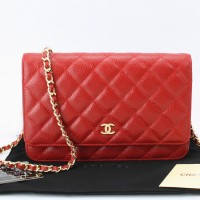Clutch Chanel WOC Quilted Caviar Merah