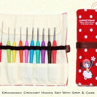 Ergonomic Crochet Hook Set With Rubber Grip & Case