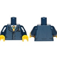 Lego Torso Suit Pinstriped Jacket and Gold Tie Pattern / Dark Blue