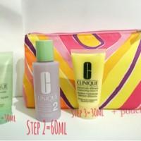 Clinique 3 step dry combination + pouch
