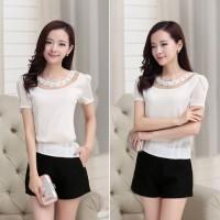 harga Blus Wanita Korea Putih Sifon Lengan Pendek 30675WE-M Tokopedia.com