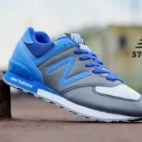 Sepatu NB 574 Men Kets Blue-Grey Pria Sporty Lari Santai Fitnes