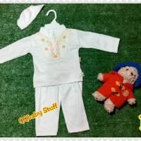 baju koko putih anak+peci/baju koko anak /baju koko anak muslim putih
