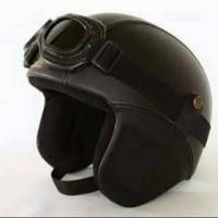 Jual Helm Classic Retro CB Hitam Kacamata Google Murah