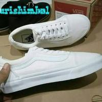 Sepatu Vans   Vans Old Skool   (Putih Strip Putih) Murah