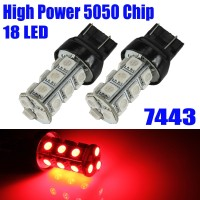 T20 7443 LED 18 SMD 5050 Red Lampu Senja Sein Rem Mundur Merah