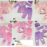 Baju Stelan Gamis Hello Kitty dan Cinderella