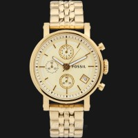 Fossil ES2197 Boyfriend Chronograph Gold Dial Tone Stainless Steel