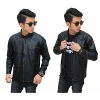 Jacket Leather Biker Black / jaket hitam kulit murah / jaket motor