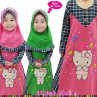 Baju Muslim Anak | Gais Anak Hello Kitty | Baju Anak Perempuan