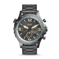 Fossil JR1517 - Nate Compass Chronograph Black Stainless Steel Watch