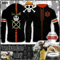 Jaket Sweater Hoodie Anime One Piece Trafalgar Law - Corazon Edition