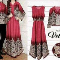 COUPLE MUSLIM HIJAB MAXI DRESS KEMEJA BATIK MERAH ALL IN ONE