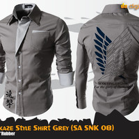 Jual SNK Kamikaze Style Shirt Grey (Attack On Titan SA SNK 08) Murah