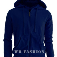Jual Jaket Sweater Polos Hoodie Zipper Biru Navy Murah