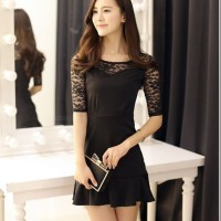 Sexy Mini Dress Pesta HItam Mix Lace hitam IMport Murah