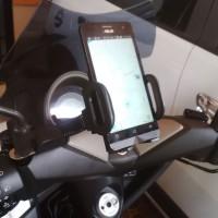 Holder HP/GPS/Android untuk Motor model Jepit Spion Kuat Murah