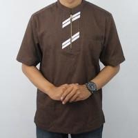 Baju Koko Pria Lengan Pendek Coklat / Baju Lebaran /Busana Muslim Pria