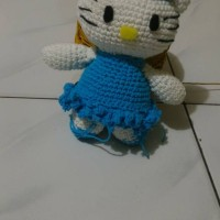 boneka hello kitty/hand made 100%/gantungan kunci/amigurumi