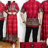 Jual Couple Batik Etnic Pyramid Nayla Red / baju couple Murah