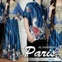Couple Batik Sutra Paris Blue / Pakaian / Baju Muslim / Baju Gamis