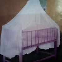 Kelambu Nyamuk Tempat Tidur Box Bayi 1 Tiang (1021) Putih Polos