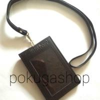 nametag / id cardholder kulit asli lipat dan tali logo pln