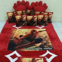 Karpet Karakter printing Spiderman warna merah, bahan bulu rasfur