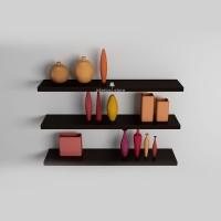 Rak Dinding Minimalis Floating Shelves Hitam 3 pcs Panjang 30,50,70 cm