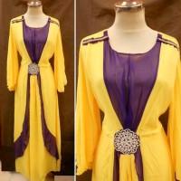 Dress Kaftan / Muslim / Gamis Maxi Kebaya LEBARAN 2016 GA 017 KUNING