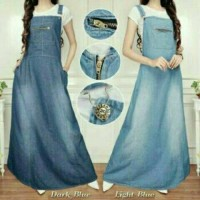 overall jeans denim rok panjang muslim wearpack dress kodok zipper