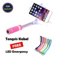 Paket Murah Tongsis Kabel Lipat Panjang Monopod Bonus LED Emergency