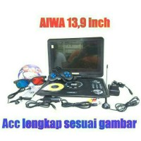 "DVD PLAYER PORTABLE AIWA 13,9 "" INCH ACC LENGKAP"