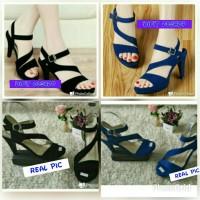 harga sandal high heels wedges wanita biru hitam tali 9cm suede beludru Tokopedia.com