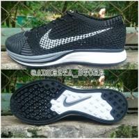 Sepatu Nike Flyknit Racer 2.0 Dark Grey / Black White Premium Quality