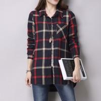 Jual kemeja wanita burberry flanel cotton kerah pakaian kerja fashion gaya Murah