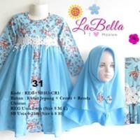 Baju Muslim/Gamis Anak Labella (Usia 7 - 11th) SB102-CR1 Biru No.31
